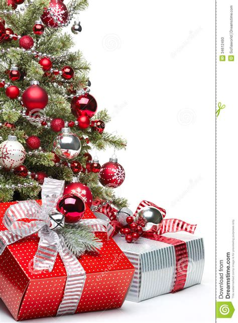 decorated christmas tree and gifts stock photos image