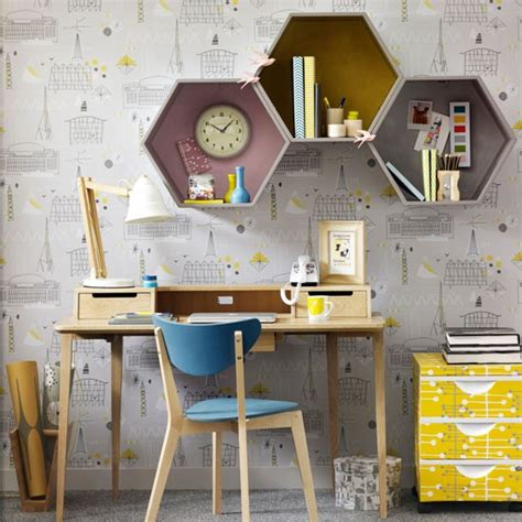 home office ideas that really work housetohome co uk retro home office with hexagonal wall shelves home