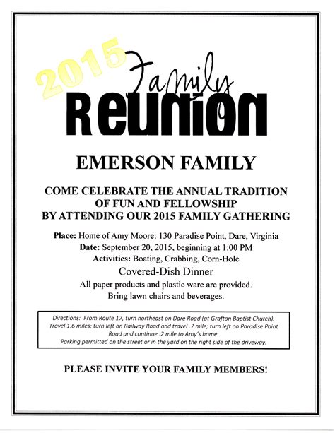 family reunion flyers bold event flyer template family