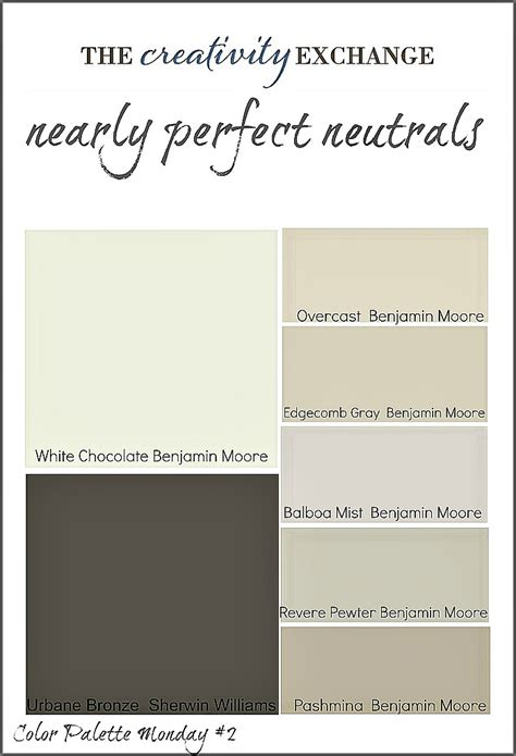 best neutral paint colors sherwin williams nearly perfect neutrals color palette monday 2