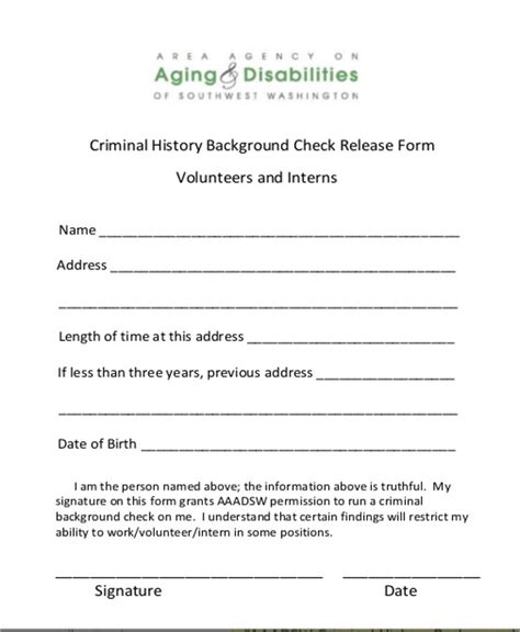 8 Sle Background Check Release Forms Sle Templates Criminal Background Check Form Template