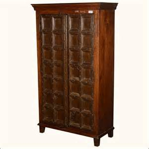 Nottingham rustic reclaimed wood old door armoire cabinet