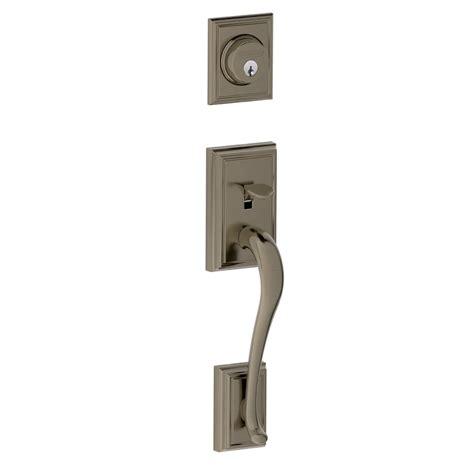 Exterior Door Handlesets Shop Schlage Adjustable Antique Pewter Entry Door Exterior Handle At Lowes
