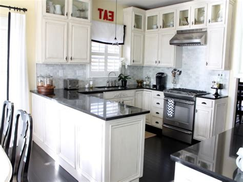 Kitchens With White Cabinets And Black Appliances Modern Style Antique White Kitchen Cabinets With Black Appliances And Granite Countertops Artenzo