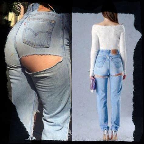30682 Back Denim 26 27 28 29 30 31 Le020917 Import all sizes levis brand blue high waist distressed denim size slit rip