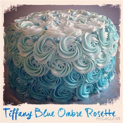 tiffany blue ombre rosette cake    created pinterest cake  birthday cakes