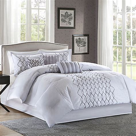madison park iris 7 piece comforter set in silver bed