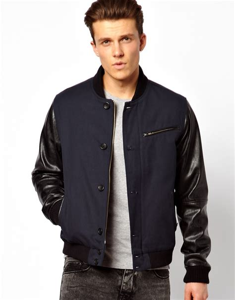 men s lyst asos bomber jacket with faux leather sleeve in blue