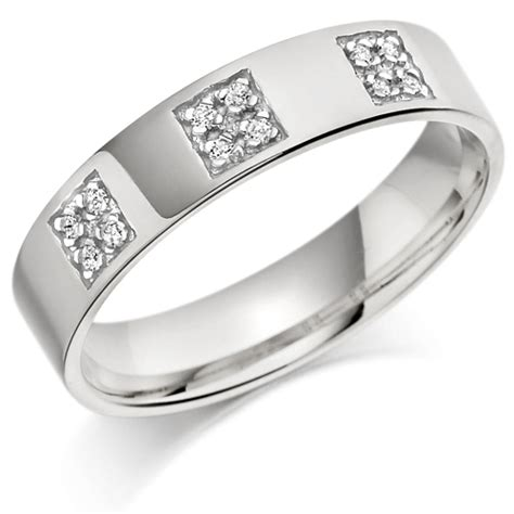 platinum gents 5mm wedding ring set with 12pts of diamonds