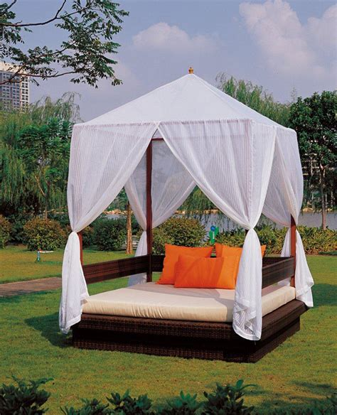 outdoor beds with canopy exterior round reversible daybed with white folding canopy and brown mattress placed on wooden