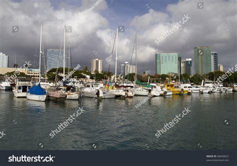 ala moana boat harbor ala moana harbor honolulu oahu stock photo 96640627