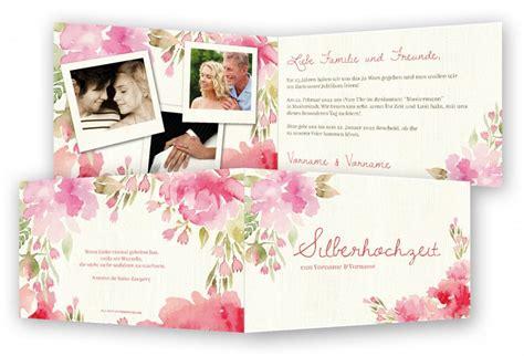 Einladungskarten Hochzeitstag by Vorlage Silberhochzeit Einladung Gestalten Feinekarten