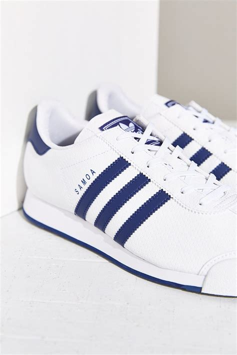 adidas striped shoes lyst adidas originals samoa blue stripe sneaker in blue
