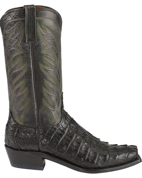 lucchese square toe boots mens lucchese s landon caiman cowboy boot narrow