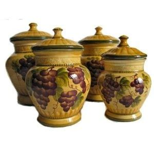 4pc ceramic canister set tuscany grape home sweet home