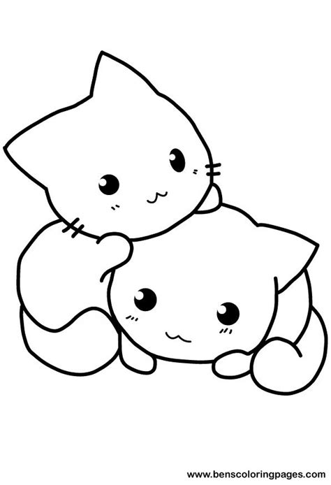 kawaii cat coloring pages cute cat coloring pages to download and print for free