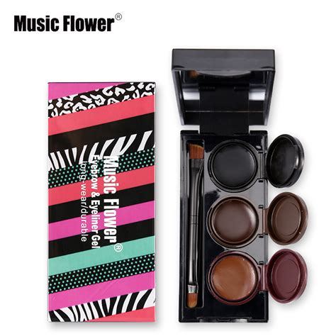 Kp2244 Landbis Eyebrow Gel 3 In1 With Eyeliner Brus Kode Tyr2300 1 flower brand 3 in 1 brown black eyeliner gel waterproof makeup eye liner gel lasting