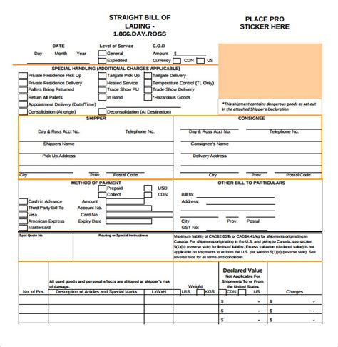 bill of lading template free sle bill of lading 5 documents in pdf