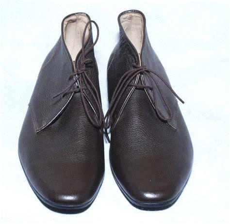 handmade mens black chukka boot leather sole fashion dress