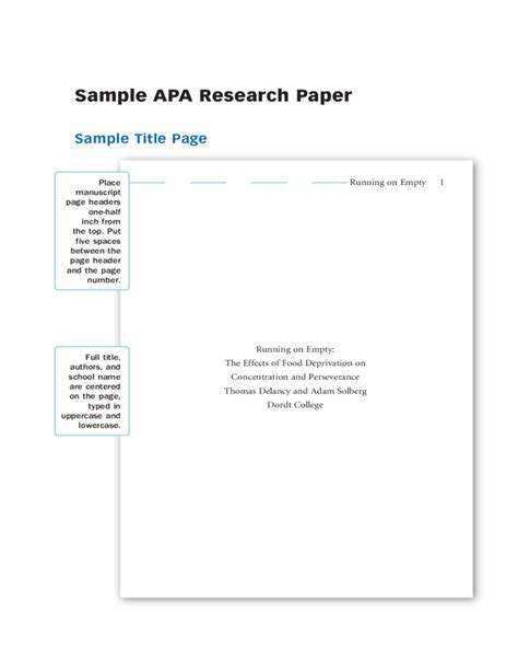apa research paper template sle apa research paper free