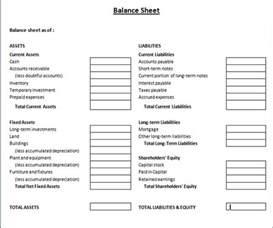 Llc Balance Sheet Template by Business Balance Sheet Template