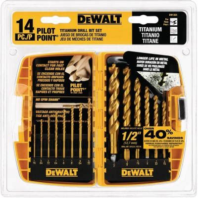 dewalt titanium pilot point drill bit set 14