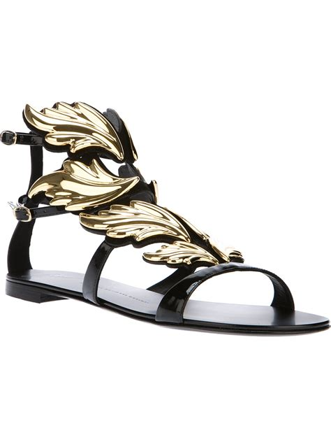 winged gladiator sandals giuseppe zanotti winged panel gladiator sandal in black lyst