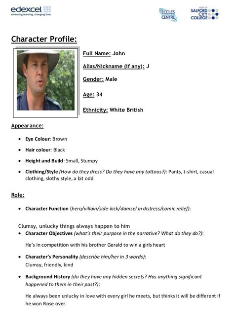 character biography exle character profile template