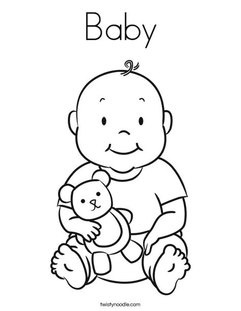 Coloring Pages Of Baby baby coloring page twisty noodle