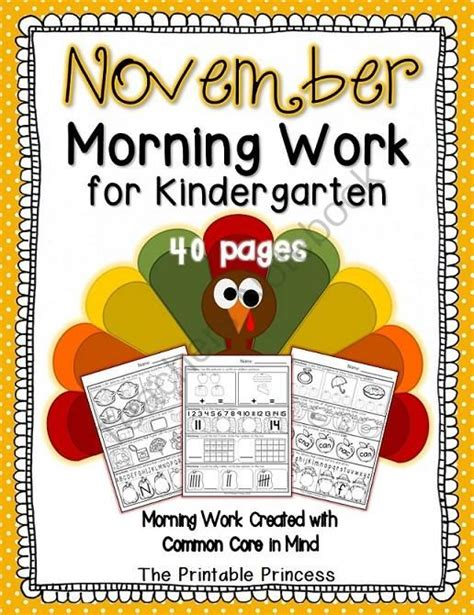 kindergarten themes for november november morning work for kindergarten ccss 40 pages 20