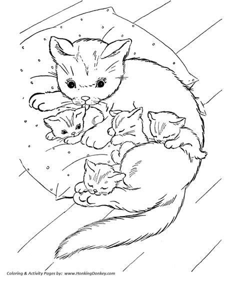 Cat Coloring Pages Printable Cat And Kittens On Pillow Cat And Kitten Coloring Pages