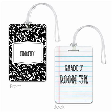 personalized tag personalized composition book name tag