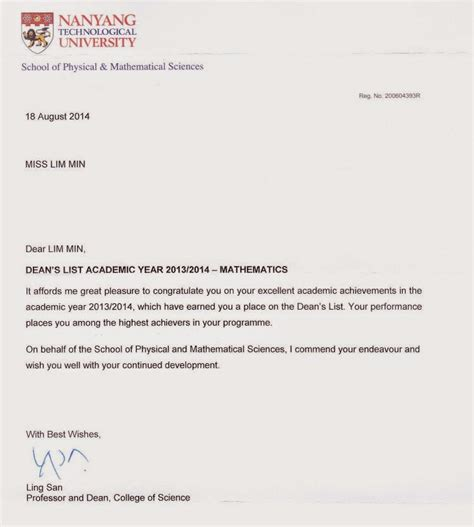 Ntu Appeal Letter Sle Welcome All Dean S List Academic Year 2013 2014 Mathematical Sciences