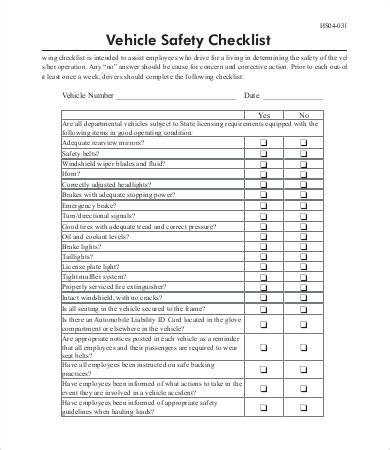 Vehicle Service Checklist Template by Vehicle Checklist Templates 14 Free Pdf Documents