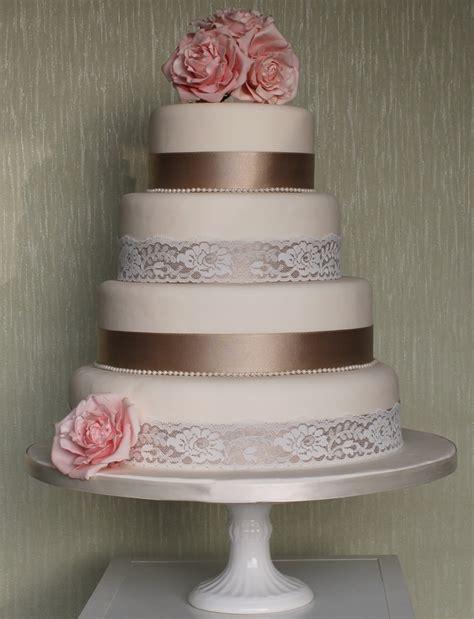 Wedding Cake Ribbon ribbon and lace wedding cake weddings