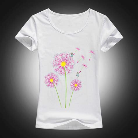 White Cly 2in1 high quality cotton t shirt dandelion flying printed summer fashion sleeve tops tees