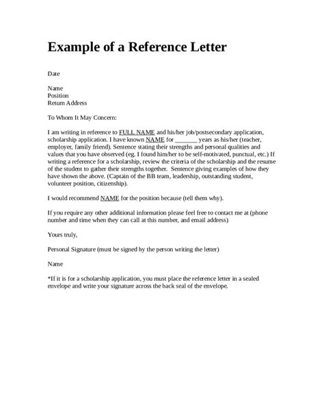 Reference Letter Format For Letter Of Reference Format Sle Template