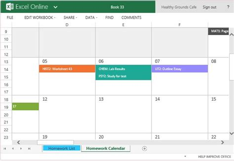 color coded calendar template homework calendar template for excel