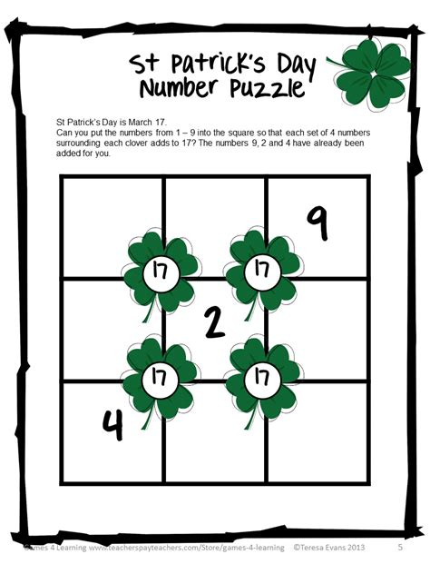 s day puzzle 4 learning st s day math freebies