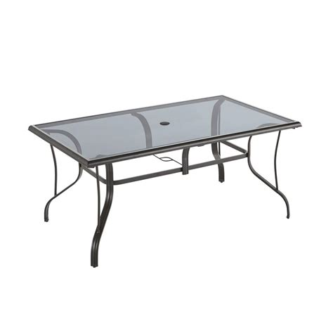 Glass Outdoor Dining Table Hton Bay Statesville Pewter Rectangle Aluminum Glass Outdoor Dining Table Shop Your Way
