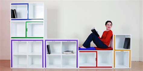 a slim dining set that can be pulled out of a bookcase