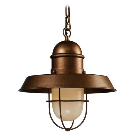 Nautical Pendant Lights Nautical Pendant Light In Copper Finish With Cage 65049 1 Destination Lighting