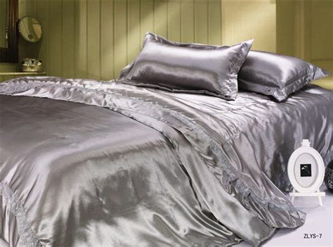 silk bed sheets aliexpress com buy luxury silver silk satin queen size
