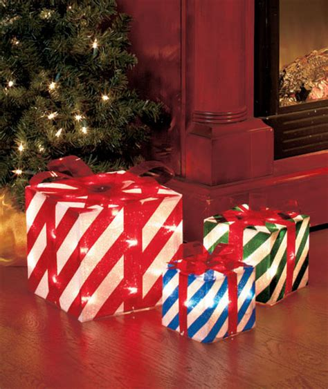 lighted gift boxes christmas indoor stripes set of 3 lighted gift boxes indoor outdoor