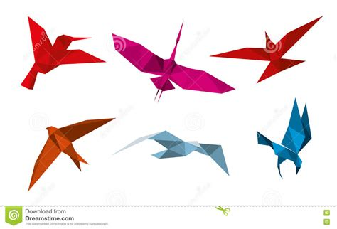 Origami Birds - origami colorful origami birds flying sky background