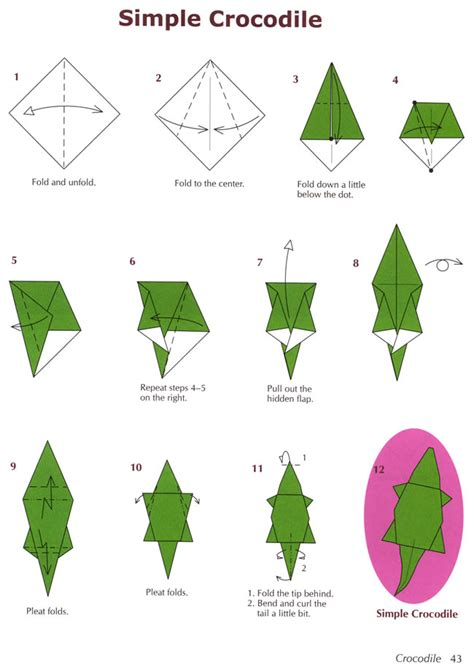 Alligator Origami - dover publications simple crocodile oragami for the