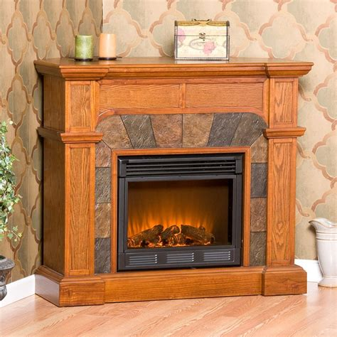 christmas tree shop electric fireplace southern enterprises cartwright mission oak convertible slate electric fireplace fireplaces at