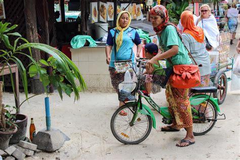 muslim girl riding bicycle stock image image