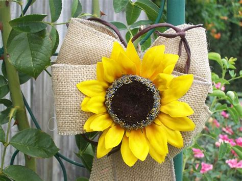 sunflower wedding burlap pew bows country wedding decor