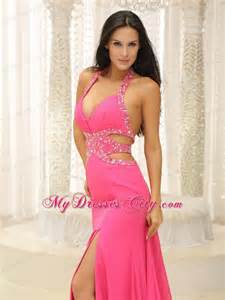 Formal Garden Party - pink halter beaded decorate prom dress with cut out waist mydresscity com